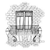 Illustration of old brick wall with balcony — Stock Photo