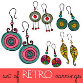 Set of illustrated retro earrings — Stock Photo