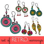 Set of illustrated retro earrings — Stock Photo