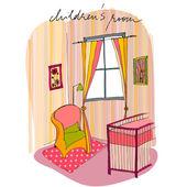 Ilustración del interior, cuarto del bebé — Foto de Stock