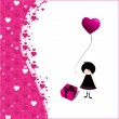 Romantic background with cute little emo girl — Stock Vector