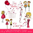 Set of cute valentine's day elements — Stock Vector
