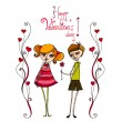 Royalty-Free Stock Vector Image: Illustrated cute couple for your valentine\'s day design