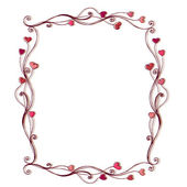 Illustrated cute frame with hearts — Stock Vector