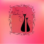 Illustrated cute valentine's day background with cats — Stock vektor