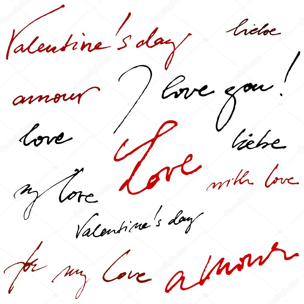 Beautiful vector calligraphic background for valentine's day greeting card — Stock Vector #8392952