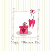 Romantic background with illustrated gift box for valentine's day — Stock Photo