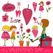 Set of cute valentine's day elements — Stock Photo #8856098