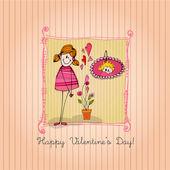 与插图可爱的小女孩,情人节的背景 — 图库照片