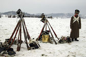 TVAROZNA, CZECH REPUBLIC - DECEMBER 3: History fans in military — Stock Photo