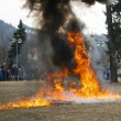 Stock Photo: BRNO, CZECH REPUBLIC - MARCH 10: Pyrotechnics effects reconstruc