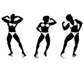Young women bodybuilder silhouettes — Stock Vector