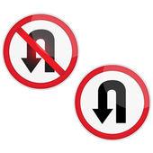 U beurt signage.vector — Stockvector