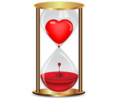 Golden hourglass with heart.Vector — Stock Vector
