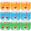 Royalty-Free Stock Vector Image: Music icons with the heart