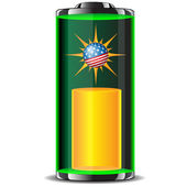 The energy of the battery with the globe USA.Vector — Stock Vector