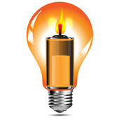 Candle in the bulb with an energy of batteries.Vector — Stock Vector