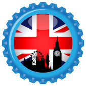 United kingdom stylized flag on bottle cap.Vector — Stock Vector