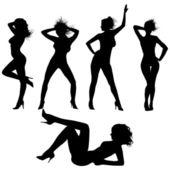Sexy silhouettes.Vector — Stock Vector
