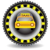 Taxi icon wheel car.Vector — Stock Vector