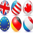Eggs with a international flag.Vector — Stock Vector