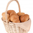 Useful beautiful delicious bread in the basket — Stock Photo