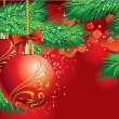 Christmas background with a red ball and Christmas tree branch - Stock Vector