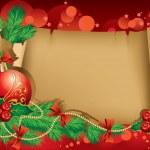 Постер, плакат: Christmas greetings with a red ball and Christmas tree branch