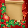 Christmas greetings with a red ball and Christmas tree branch - Stock Vector