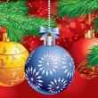 Christmas background with a three ball and Christmas tree branch — Imagen vectorial