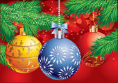 Christmas background with a three ball and Christmas tree branch — Stockvector