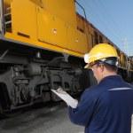 Train engineer with yellow hardhat — Stock Photo #7974536