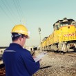 Train engineer with yellow hardhat — Stock Photo