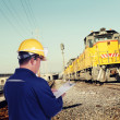 Royalty-Free Stock Photo: Train engineer with yellow hardhat