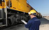 Train engineer with yellow hardhat — Stock Photo