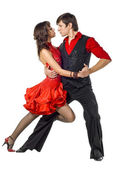 Portrait of young elegance tango dancers. — Stock Photo
