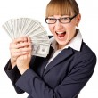 Stock Photo: Happy businesswomwith dollars