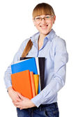 Girl with stack color books — Stock Photo