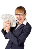 Happy businesswoman with dollars — Stock Photo