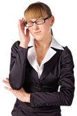 Une femme d'affaires avec un mal de tête — Photo