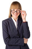 Young attractive businesswoman looking at the camera — Stock Photo