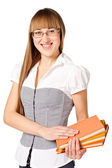 Girl with color books — Stock Photo