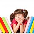 Little girl with a books on the floo - Foto de Stock