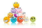 Lot of smileys in piramide — Stock Photo