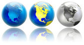 Three different colors globe variations North America — Stock Photo