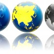 Stock Photo: Three different colors globe variations Asiand Oceania