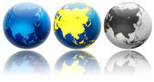 Three different colors globe variations Asia and Oceania — Stock Photo