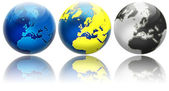 Three different colors globe variations Europe — Stock Photo