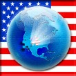 Puzzle on globe with flag USA inside — Stock Photo