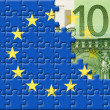 Stock Photo: United Europe flag over 100 euro